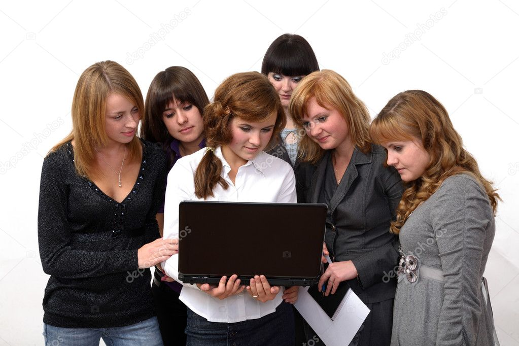 The group of girls looks the document — Stock Photo #1118342
