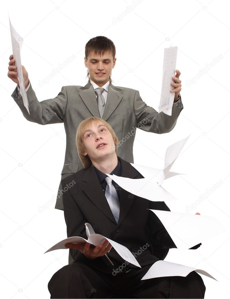 On the man sheets of a paper fall — Stock Photo #2378524