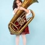 Girl playing Tuba — Stock Photo #2393570