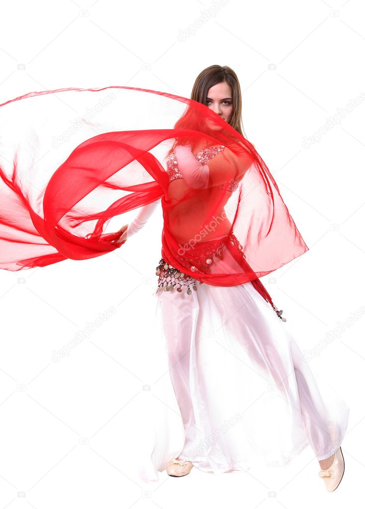 A girl in a fancy eastern costume dancing — Stock Photo #2575299