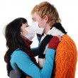 Man and woman masks kissing, — Stock Photo