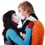 Man and woman masks kissing, — Stock Photo #1100264