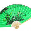 Royalty-Free Stock Photo: Green Chinese fan. (isolated)