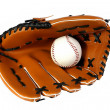 Royalty-Free Stock Photo: Brown baseball glove and white ball