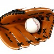 Brown baseball glove and white ball - Stock Photo