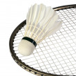 Shuttlecocks on a racket - Stock Photo