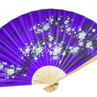 Stock Photo: Violet Chinese fan. (isolated)