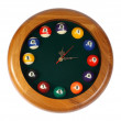 Wall clock, billiards. (isolated) — Zdjęcie stockowe #1155127