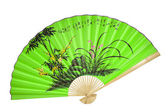 Green Chinese fan. (isolated) — Stock Photo