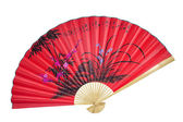 Red Chinese fan. (isolated) — Stock Photo