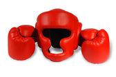 Red boxing-gloves, helmet — Stock Photo