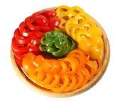 Czerwony żółty pomarańczowy zielony pieprz — Zdjęcie stockowe