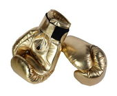 Gold boxing-gloves. (isolated) — Stock Photo