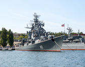 Russian warship in the Bay — Stock Photo