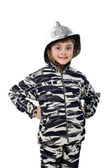 Little boy in the old fire helmet — Stock Photo