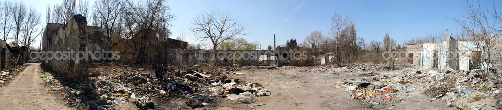 Ruins of city, trash, panorama, ecology — Stock Photo #1155631