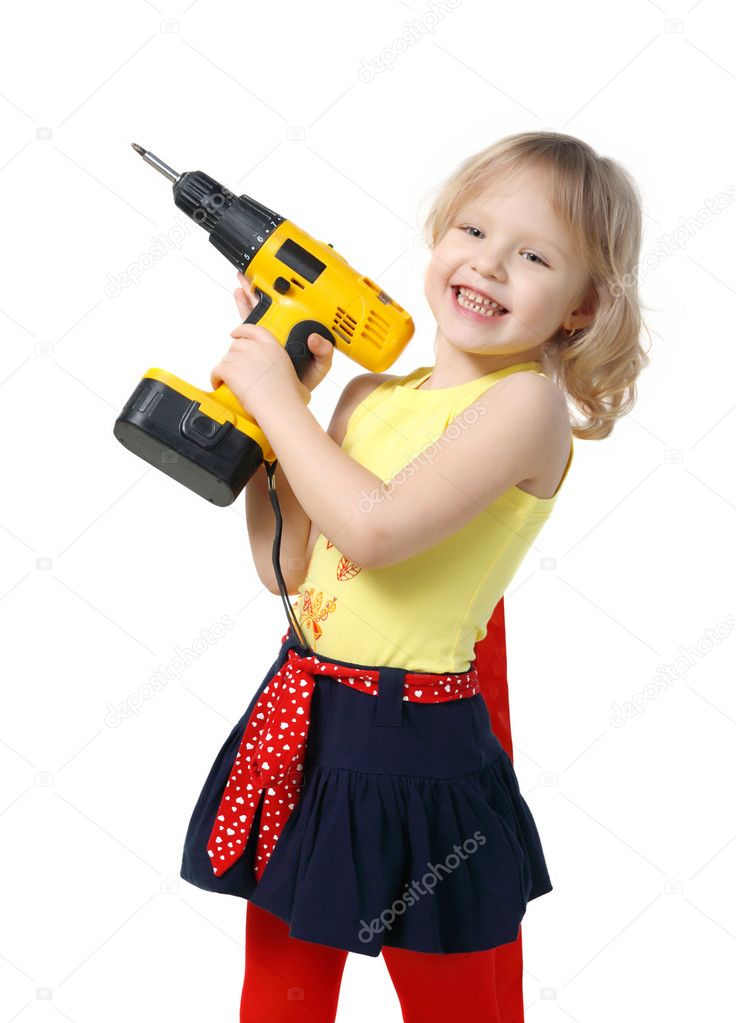 Little girl with screwdriver in hands on the white background — Stock Photo #1155755