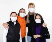 In masks, ill flu, A(H1N1) — Stock Photo