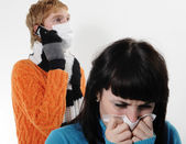 Girl was ill of influenza — Stock Photo
