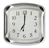 Gray wall clock. (isolated) — Stock Photo