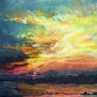 Painting, sunset on the Dnieper - Stock Photo