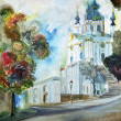 Stock Photo: Painting, Cathedral Church in Kiev