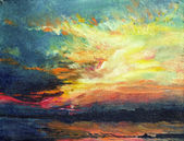 Painting, sunset on the Dnieper — Stock Photo