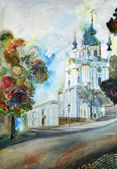 Painting, Cathedral Church in Kiev — Stock Photo
