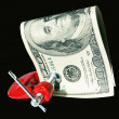 Money clamped in the clamp — Stock Photo