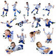 Boy with soccer ball, Footballer on the white background. (isolated) — Stock Photo #1491317