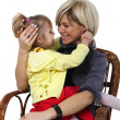 Little daughter hugs the young mother on the white background — Stock Photo