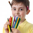 Little boy with crayons — Stock Photo