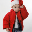 Little boy in a Santa Claus hat — Stock Photo