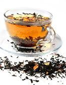 Tea in a transparent mug — Stock Photo