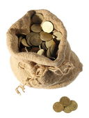 Sackful of change money, coins — Stock Photo