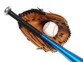 Brown baseball glove, bat and white ball — Stock Photo