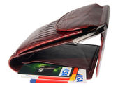 Full purse of money and credit cards on the white background — Stock Photo