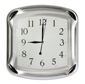 Gray wall clock on the white background (09:00). (isolated) — Stock Photo