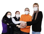 In masks, ill flu, A(H1N1). — Photo