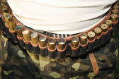 Belt of ammunition on the belt — Stock Photo