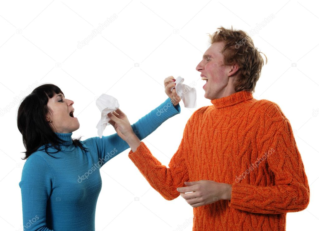 Sick flu man and woman, sneeze on each other, A(H1N1), on the white background — Stock Photo #1491246