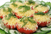 Tomato with cheese and fennel — Stock Photo
