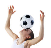 Boy with soccer ball, Footballer — Stock Photo