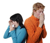 Sick flu man and woman, sneeze — Stok fotoğraf