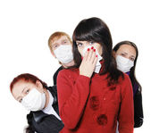 In masks, ill flu, A(H1N1). — Stock Photo