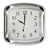 Gray wall clock (10:00). , (isolated) — Zdjęcie stockowe