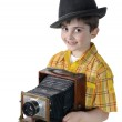 Little boy with an old camera — Stock Photo
