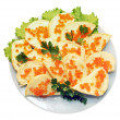 Sandwich with red caviar on the plate — Stock Photo #2553013