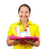 Smiling women with toiletries — Stock Photo