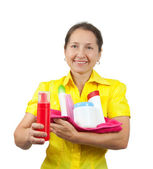 Women senior having hold of toiletries — Stock Photo